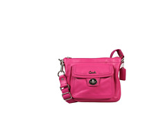 Coach Classic Leather Turnlock Swingpack Crossbody Bag Messenger Bag Pink F45012