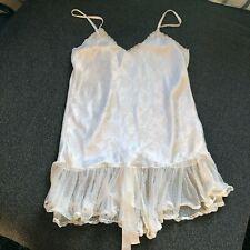 Vintage '80s Victoria Secret's Satin & Lace Cream Teddie Babydoll Nightie M