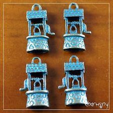 Antique Bronze Wishing Well charms ~PACK of 4~ green patina wedding coin wish