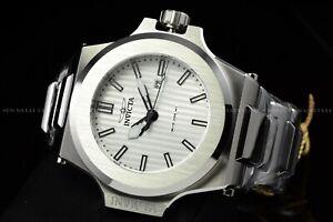 Invicta Men 58mm Akula Prestige Quartz Silver Strips Dial Polished Silver Watch