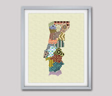 Art Portugal Map Print LisbonTravel Poster Painting Abstract Home Wall Decor NEW