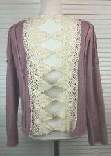 Free People Womens Sweater XS Boxy, Cropped Paneled, Crocheted Back, Mauve Ivory