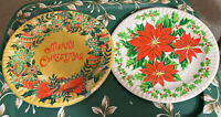 "Vintage 70's Mid Century Christmas Paper Plates Dinner 9"" NOS"