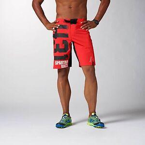 New Mens Reebok Crossfit CF Shorts Spartan Performance Board Red Tough Mud XXL