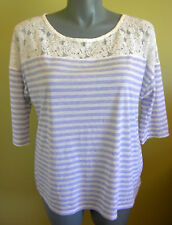 Ladies Womens Blouse T-Shirt Top Casual Blue Stripe Knit Lace Target Size 20 NWT