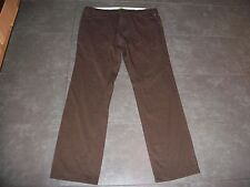 Mens Hugo Boss Green Modern Regular Fit Brown ThinStripe Cotton Trousers W36 L34