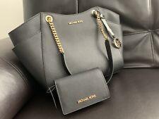 Michael Kors Jet Set Saffiano Shoulder Tote Bag, Large - Black