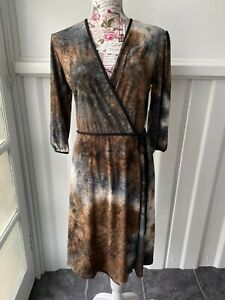 """""""ZIG ZAG"""" SIZE """"14"""" MADE IN OZ LADIES GORGEOUS NATURAL COLOURS CROSS OVER DRESS~"""
