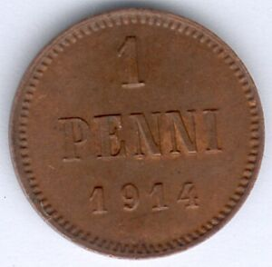 Finnland Nikolaus II. (1894-1917) 1 Penni 1914 (Cu.) KM#13, vz zu fast vz/st