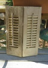 "2 Panels White Interior WOOD LOUVER SHUTTERS 20"" T Need TLC Sm Opening or Crafts"
