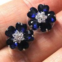 .5 Ct Heart Sapphire Flower Stud Earring Women Wedding Jewelry 14K Gold Plated
