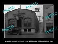 OLD LARGE HISTORIC PHOTO OF OLYMPIA WASHINGTON, PACIFIC TELEPHONE BUILDING c1930