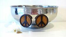 Unisex Handmade Circle Brown Genuine Leather Lagenlook Earrings PEACE  2.75 in