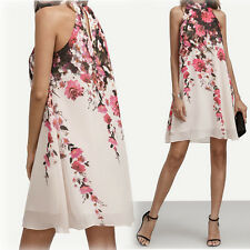 Womens Lady Dresses Casual Floral Round Neck Cut Out Sleeveless Loose Mini Dress