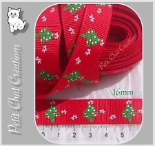 1M RUBAN LIBERTY GROGRAIN SATIN ROUGE SAPIN VERT NOEL  16MM *X15