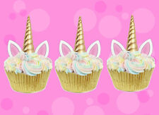 24 STAND UP MINI UNICORN GOLD HORN & EARS EDIBLE CUPCAKE CUP CAKE IMAGES TOPPERS