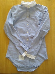 NWOT Thom Browne Women's Blue Oxford Cloth Band Collar USA TB1 MSRP $330