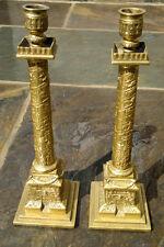 """C1870 Antico GRAND TOUR DI TRAIANO COLONNA candelieri bronzo/ottone COPPIA 13"""" """"Tall"""