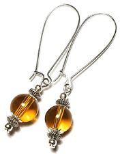 Long Silver Amber Yellow Earrings Drop Dangle Glass Bead