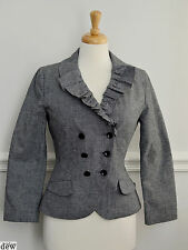 TOPSHOP jacket suit 12 black & white DOGTOOTH fitted 1940's 50's DOUBLE BREASTED