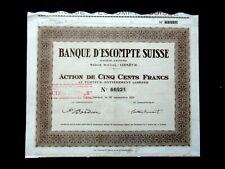 BANQUE D'ESCOMPTE SUISSE - ACTION 500 FRS GENÈVE 1931