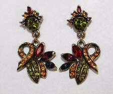 Heidi Daus signed Fashion Designer Artisan Multi color Pierced Earrings