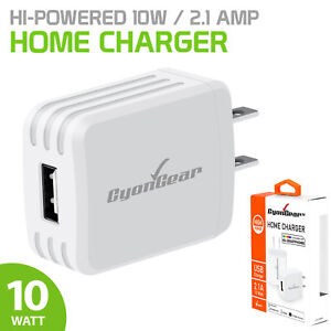 CyonGear 2.1 Amp Hi-Powered USB Home Trave Wall USB Charger for iPhone / Android