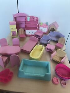 Bundle Job Lot Of Wooden Doll House Room Accessories