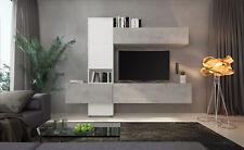 Parete attrezzata mobile porta TV salotto soggiorno bianco frassinato e grigio