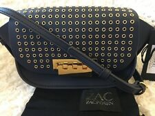 ZAC POSEN Eartha Iconic Smooth Lthr MiCRO Accordion Xbody In NAVY,NWT