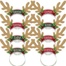 Santas Reindeer Pack Headbands Christmas Party DRESS UP DECORATION 8 GUESTS
