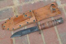 Vintage Jet Pilot's Survival Knife Camillus NY Leather Sheath Stone