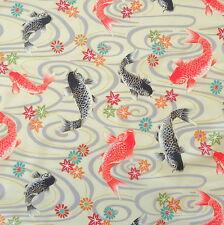 Koi Carps Cream Japanese Cotton Fabric by Half Metre 50cm TG104