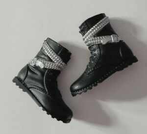 BARBIE DOLL SHOES KEN BLACK & SILVER STUDDED EDGY MOTORCYCLE BOOTS FASHION STYLE
