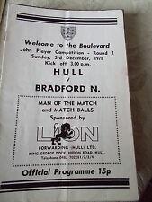 3.12.78 Hull v Bradford Northern programme
