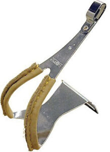 MKS Toe clips with leather, steel - large - pair