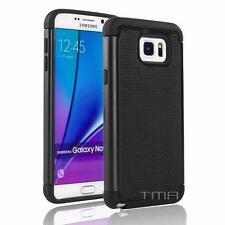 Samsung Galaxy Note 5 V Rugged Dual Layer Rubber Shock Proof Hybrid Case - Black