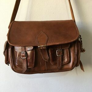 Vintage Tan Brown Leather Handbag Cross Body Tote Style Front Pockets Retro Bag