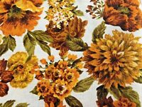 Vintage Mid Century Barkcloth Floral Flower Power MUMS Upholstery Fabric