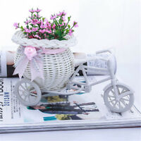 Excellent White Tricycle Bike Flower Basket CoNTiner For Flower Plant Decor NT
