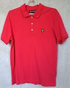LYLE & SCOTT Mens Polo Shirt Pink 100% Cotton Size L Large