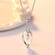 Fashion Crystal White Gold Plated Long Pearl Pendent Necklace Jewelry Wedding