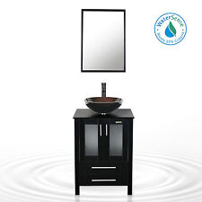 "24"" Bathroom Vanity Cabinet Single Top Wood Vessel Glass Sink W/ Faucet Black"