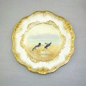 Antique Royal Doulton Hand Painted Cabinet Plate - Oyster Catcher Signed