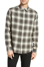 NWT $225 Vince Shadow Flannel Plaid Long-Sleeve Shirt In Grey Size S