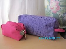 2pc Lancome Lavender Pink Fabric Cosmetic Bag with Hook Coin Purse