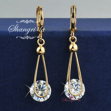 18K 18CT GOLD FILLED Dangle EARRINGS Genuine SWAROVSKI CRYSTAL 2.0CT EX442