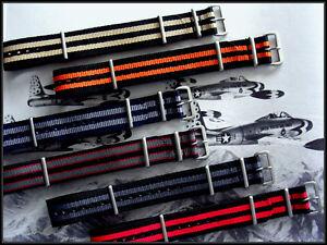 NATO nylon watch band strap 24mm Blue-Grey G10 RAF Bond IW SUISSE 16 18 19 20 22