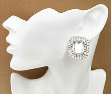 Diamante Crystal Cluster CLIP ON Stud Earrings for Prom Bridal silver plated
