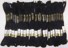 24 x Black Anchor Stitch Cotton Embroidery Thread Floss Skeins